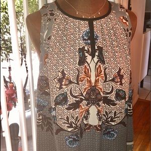 Print tank top blouse with back zipper, Small